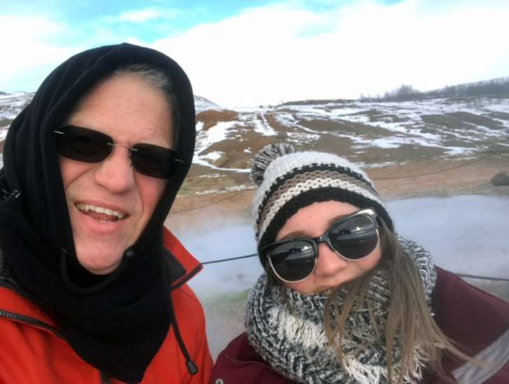 Alikay and her father visit the Geysir, one of the sights on the Golden Circle