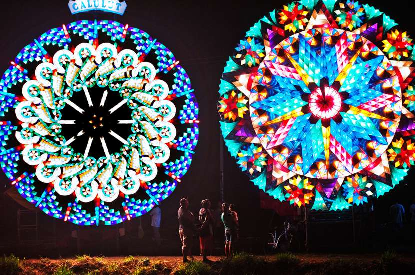 A pair of colorful giant lanterns, a Christmas tradition in the Philippines