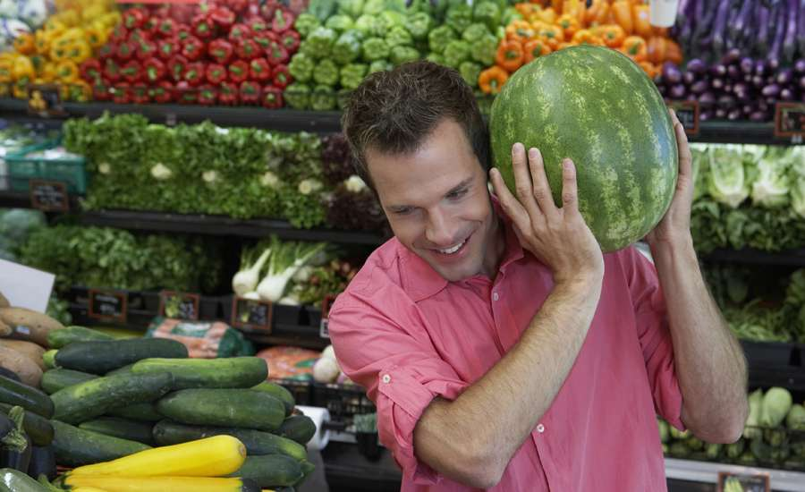 Man buys watermelon