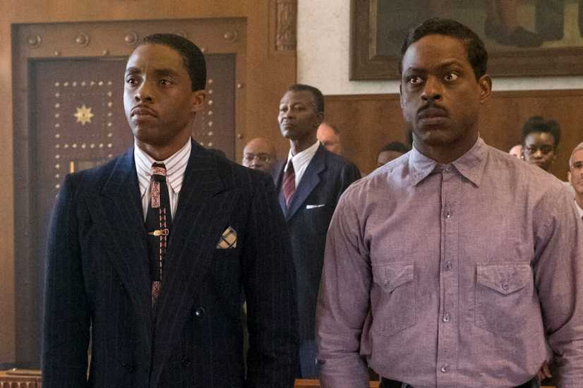 Chadwick Boseman (left) and Sterling K. Brown in a scene from 'Marshall'