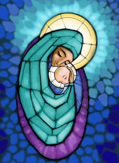 Stained glass image of Virgin Mary holding Baby Jesus