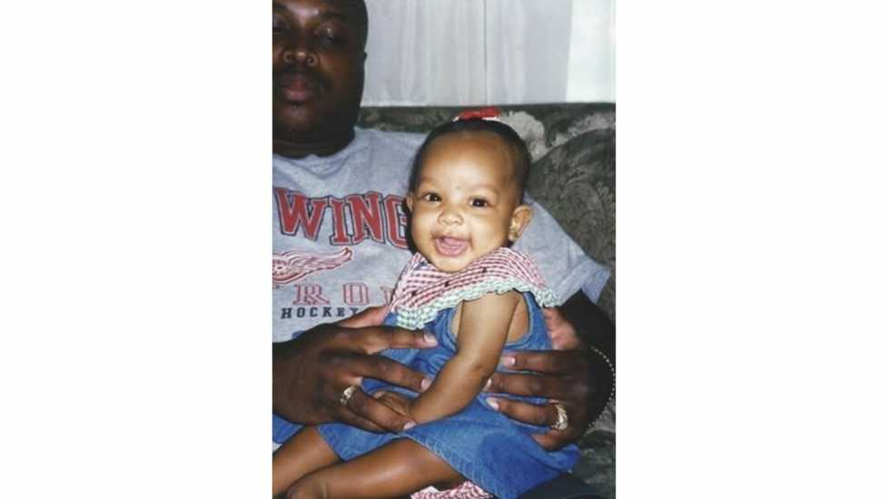 A childhood photo of Asya Branch, Miss Mississippi 2018, with her father.