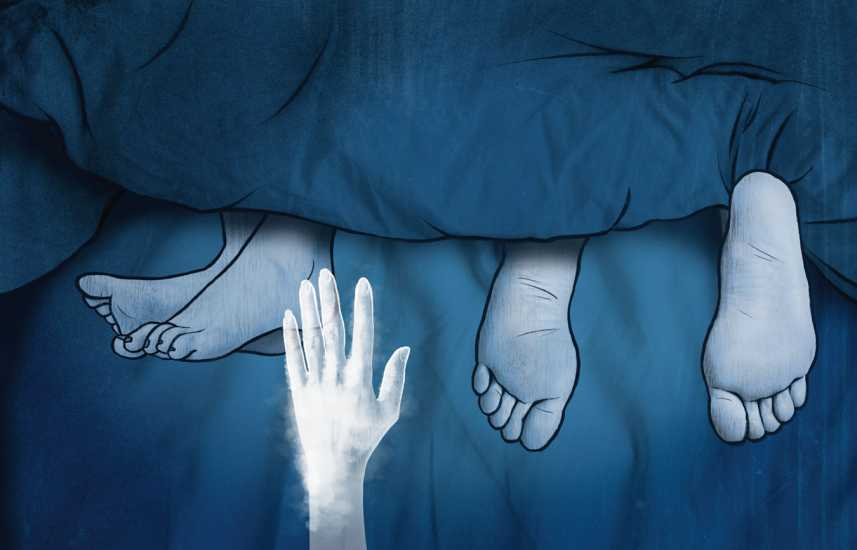 Illustration of a hand reaching out to a foot in bed