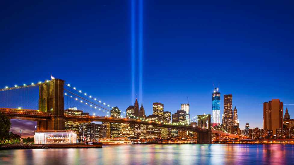 New York City with September 11 Tribute in Light (Alamy)