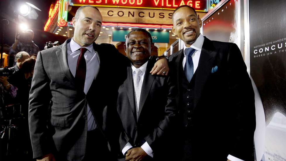 Director/writer Peter Landesman, Dr. Bennet Omalu and Will Smith at a screening of 'Concussion' in Los Angeles
