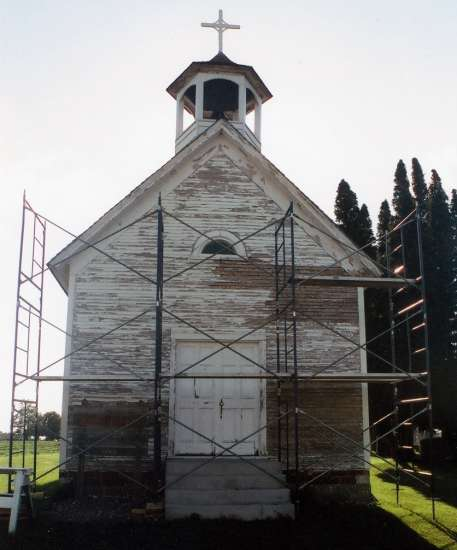 St. John Chapel, surrounded by scaffolding early in the restoration process.