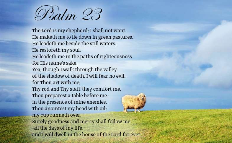 Psalm 23: The Lord is my shepherd; I shall not want. He maketh me to lie down in green pastures: He leadeth me beside the still waters. He restoreth my soul: He leadeth me in the paths of righteousness for His name's sake. Yea, though I walk through the valley of the shadow of death, I will fear no evil: for Thou art with me; Thy rod and Thy staff they comfort me. Thou preparest a table before me in the presence of mine enemies: Thou anointest my head with oil; my cup runneth over....