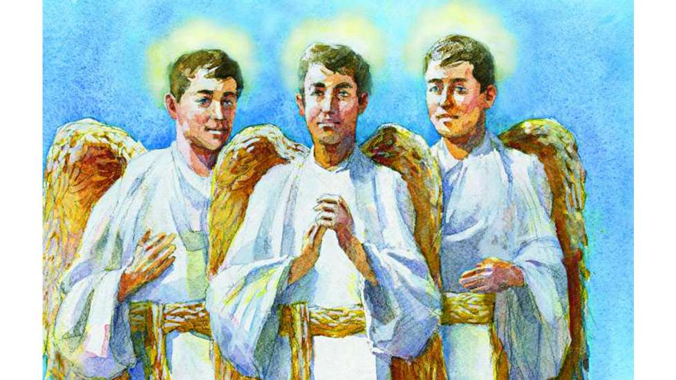 An artists' rendering of three guardian angels with gold wings in matching white robes