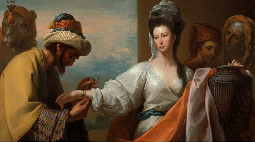 Benjamin West - Isaac's servant tying the bracelet on Rebecca's arm