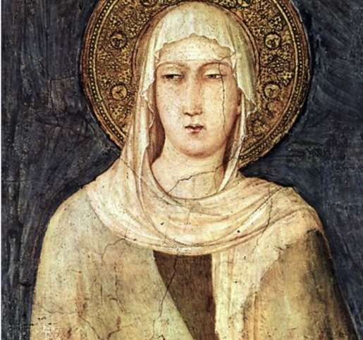 Detail depicting Saint Clare from a fresco (1312–20) by Simone Martini