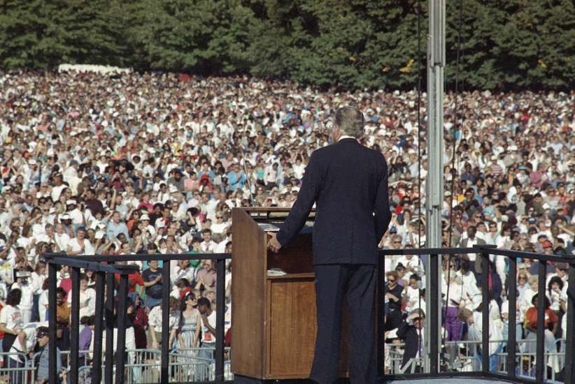 In 1991, Graham conducted his first New York City crusade in 21 years. Here, he speaks to 250,000 people gathered on the Great Lawn of New York's Central Park.