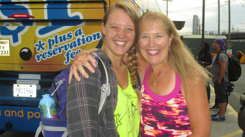 Merry Lee and Deborah experience a joyous reunion after Deborah reaches the end of her 4,491-mile journey.