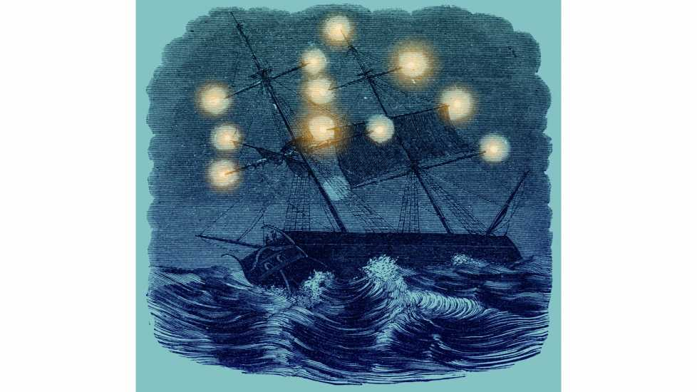 An artist's rendering of St. Elmo's Fire – the flame that does not burn – on the masts of ships caught in a storm.