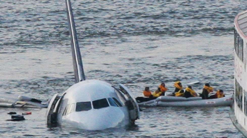Passengers are rescued from US Airways Flight 1549 as it floats in the Hudson off Manhattan