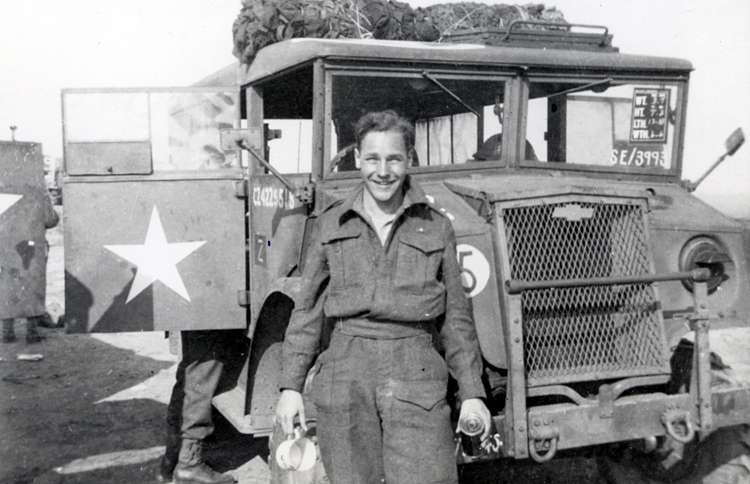 Guideposts: George Emmerson during his days as an army truck driver