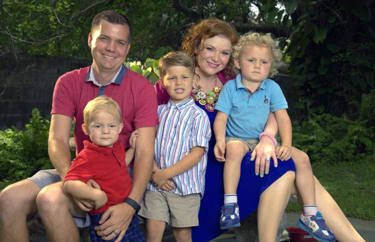 Ashley with her husband, Erick Smith, and sons (l-r) Andrew, Skyler and Ethan Smith