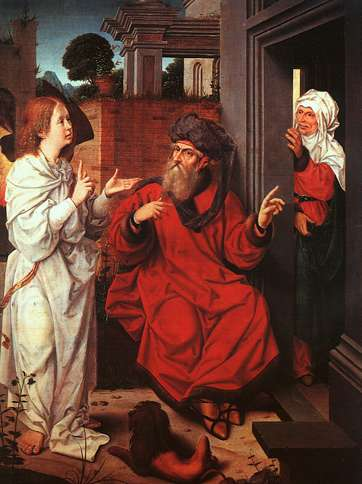 Guideposts: Abraham is visited by an angel, as Sarah listens from nearby