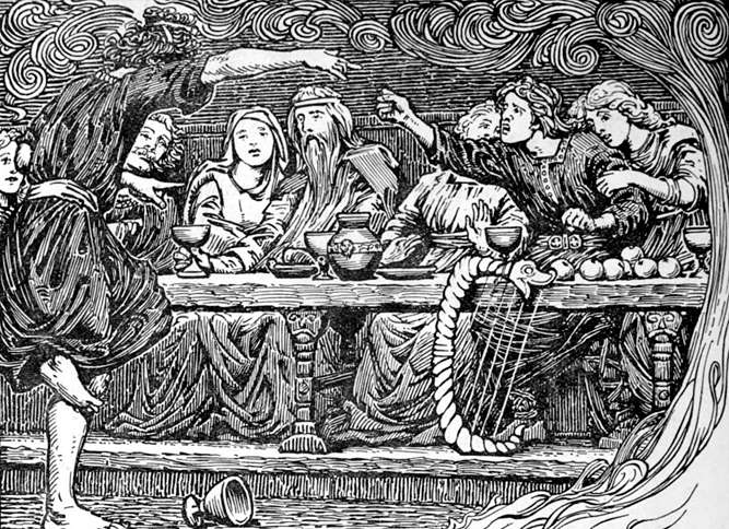 An artist's depiction of Loki confronting Bragi at a banquet in Valhalla