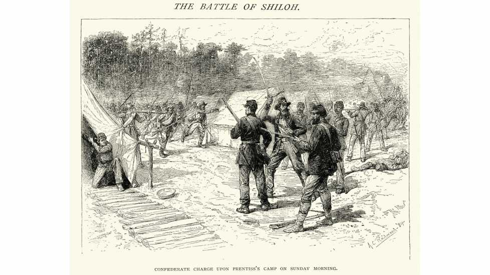 An engraving of soldiers at the Battle of Shiloh, which began on April 6, 1862.