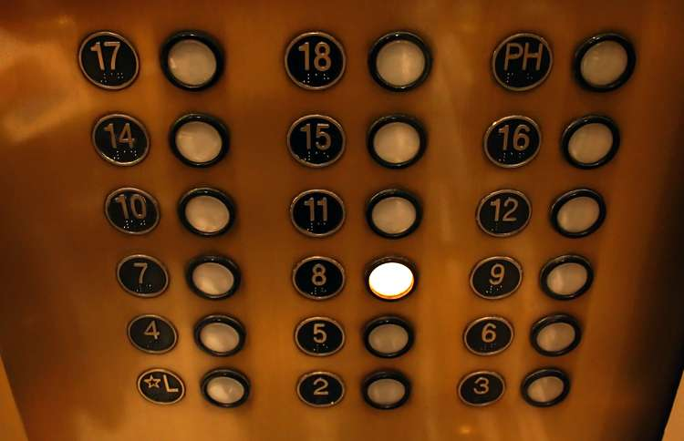 Elevator buttons that skip from the 12th floor to the 14th.