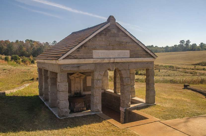 The monument at Providence Spring in Andersonville, Georgia