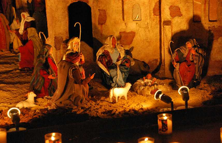 A Nativity scene made up of santons from the Provence region