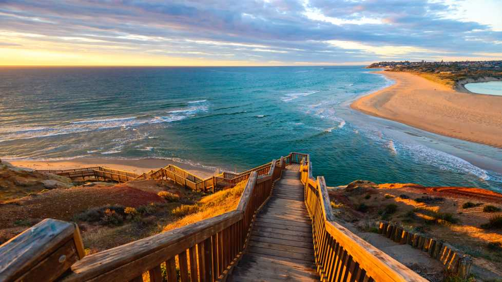 South Port Beach boardwalk at sunset; Getty Images
