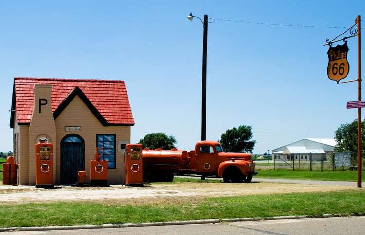 Guideposts: A restored Phillips 66 filling station in McLean, Texas
