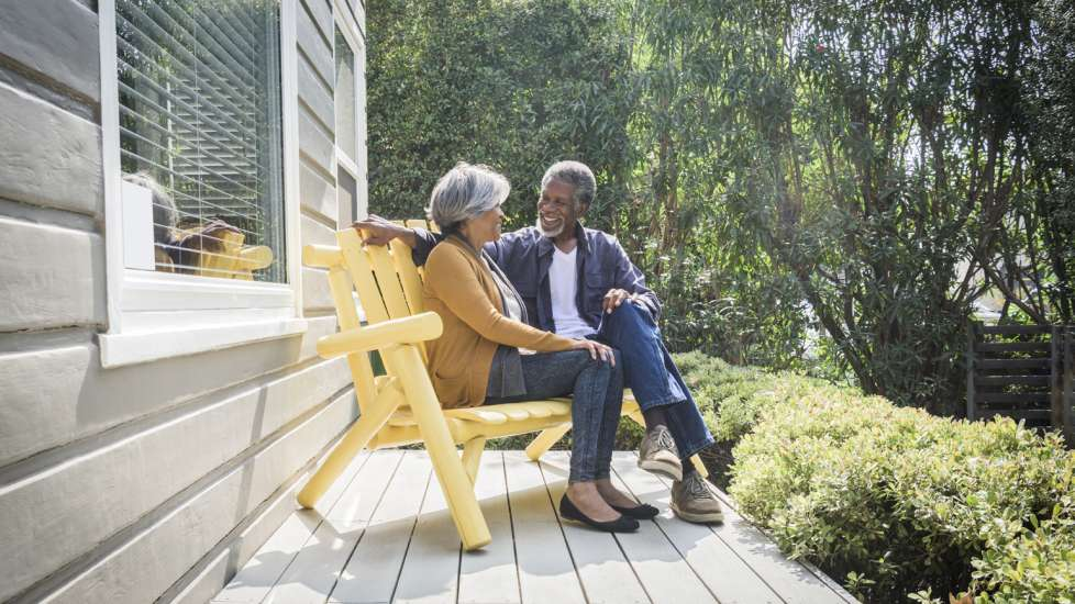 A retired couple discussing their life plans