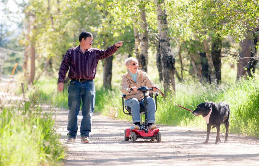 Don, Linda Rae and Trixie out for a stroll along a country lane