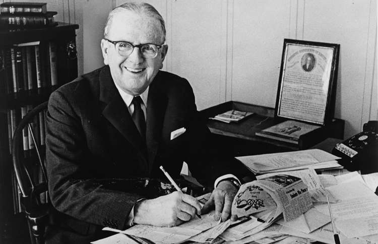 Dr. Norman Vincent Peale in his office
