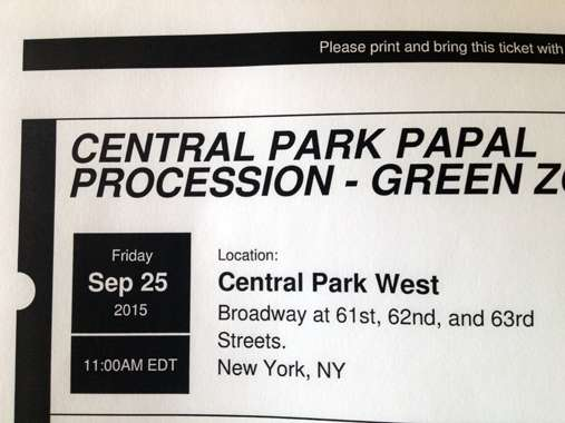 Guideposts: ticke to see Pope Francis in Central Park, New York City