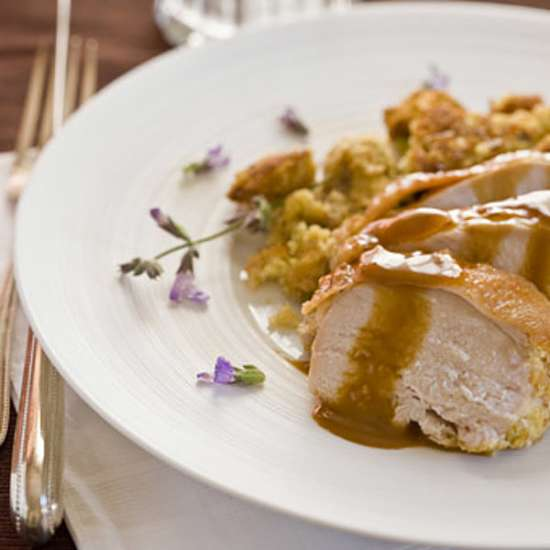 Guideposts: Roasted Turkey Breast with Cornbread-Sage Stuffing and Brandy Gravy