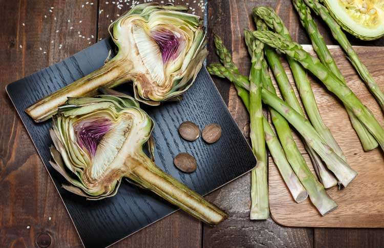 Guideposts: Freshly picked asparagus and artichokes