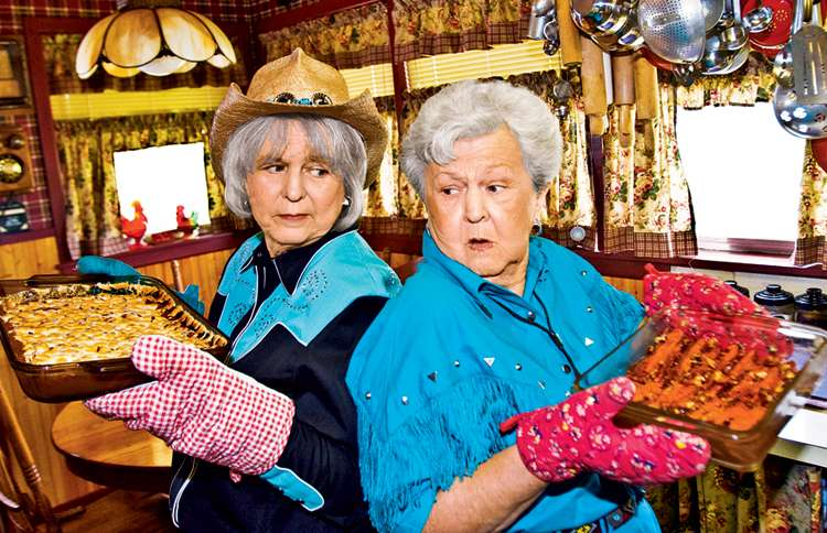 Guideposts: Feuding sisters Wanda and Nova, each holding a dish of her Thanksgiving yams.