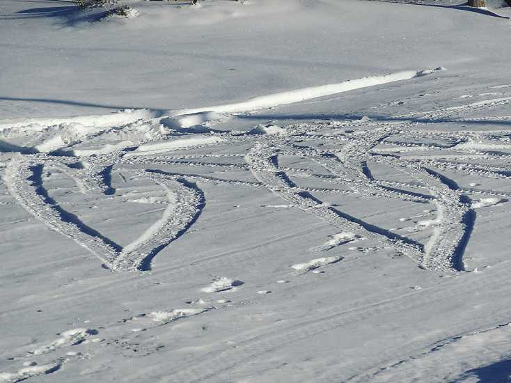 Two snowy hearts