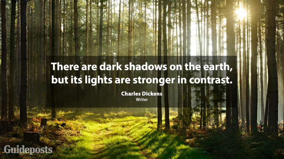 There are dark shadows on the earth, but its lights are stronger in contrast