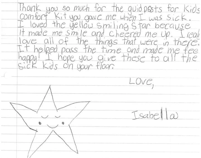 Children and their parents often share how Comfort Kits helped them get through a difficult time, like this note.