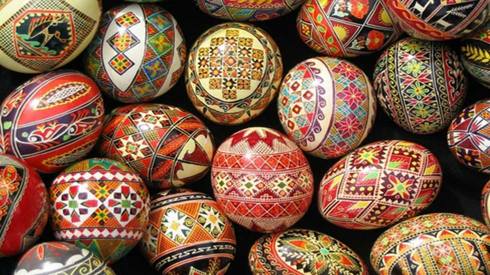 A collection of beautifully designed Easter eggs from Ukraine