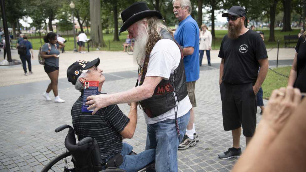 Eddie is greeted by a fellow Vietnam veteran