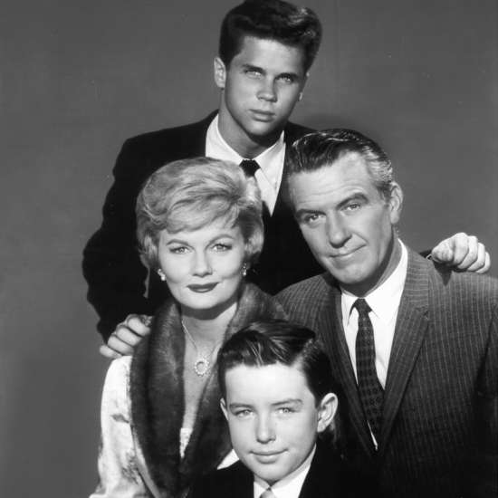 Hugh Beaumont as Ward Cleaver with his TV family on Leave It to Beaver