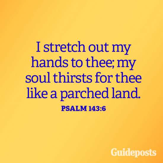 I stretch out my hands to thee; my soul thirsts for thee like a parched land. Psalm 143:6