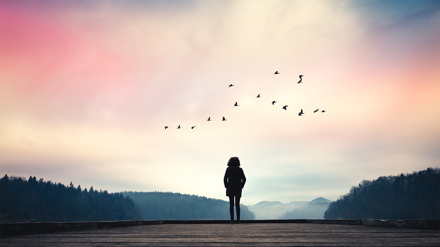 A woman gazes out at the sunrise over a lake