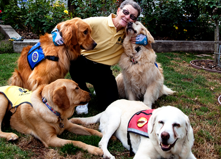 Mary Deets and guide dogs