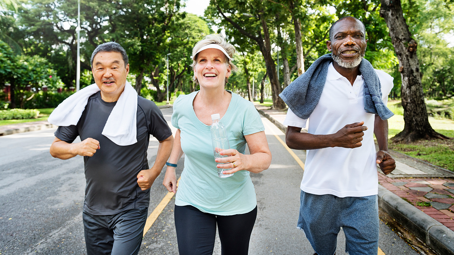 Three friends exercise together