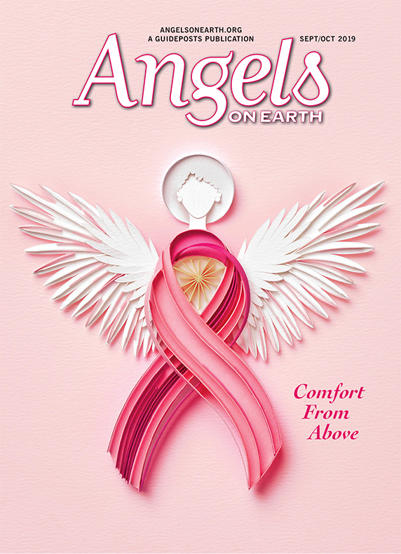 Sabeena Karnick's illustration for the cover of the September/October issue of Angels on Earth depicts a pink-ribbon angel for Breast Cancer Awareness Month.
