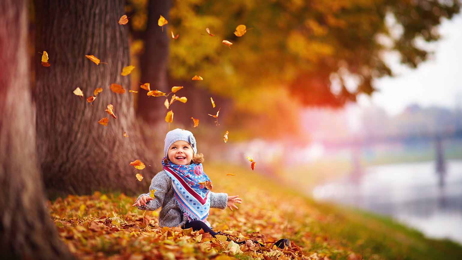 A happy young child plays in a pile of autumn's fallen leaves