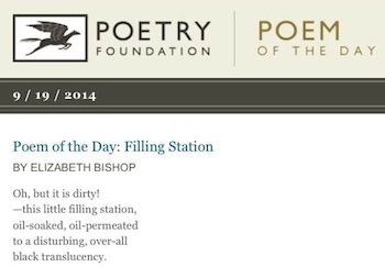 """The first few lines of the poem, """"Filling Station,"""" by Eizabeth Bishop"""