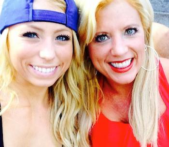 Michelle Adams with daughter Ally at a baseball game.