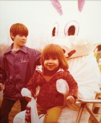 A young Nick and Aimee with the Easter Bunny.